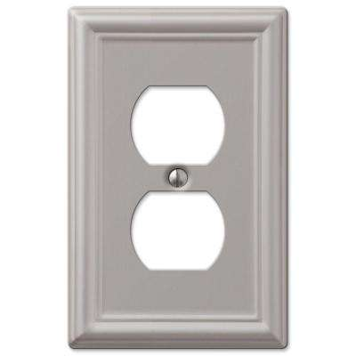 Ascher 1 Duplex Outlet Plate - Brushed Nickel Steel