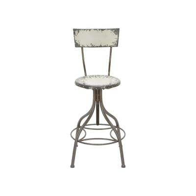 Distressed Gray Iron Round Bar Chair with Chipped Beige Painted Seat and Backrest