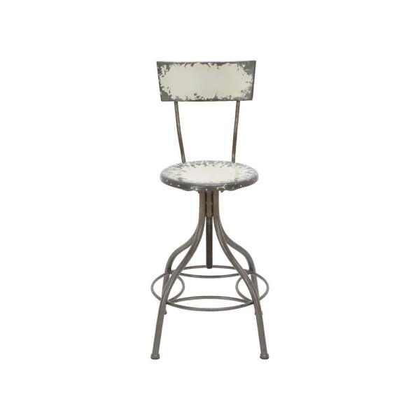Litton Lane Distressed Gray Iron Round Bar Chair with Chipped Beige Painted Seat and Backrest