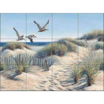 Pelican Trio 24 in. x 18 in. Ceramic Mural Wall Tile