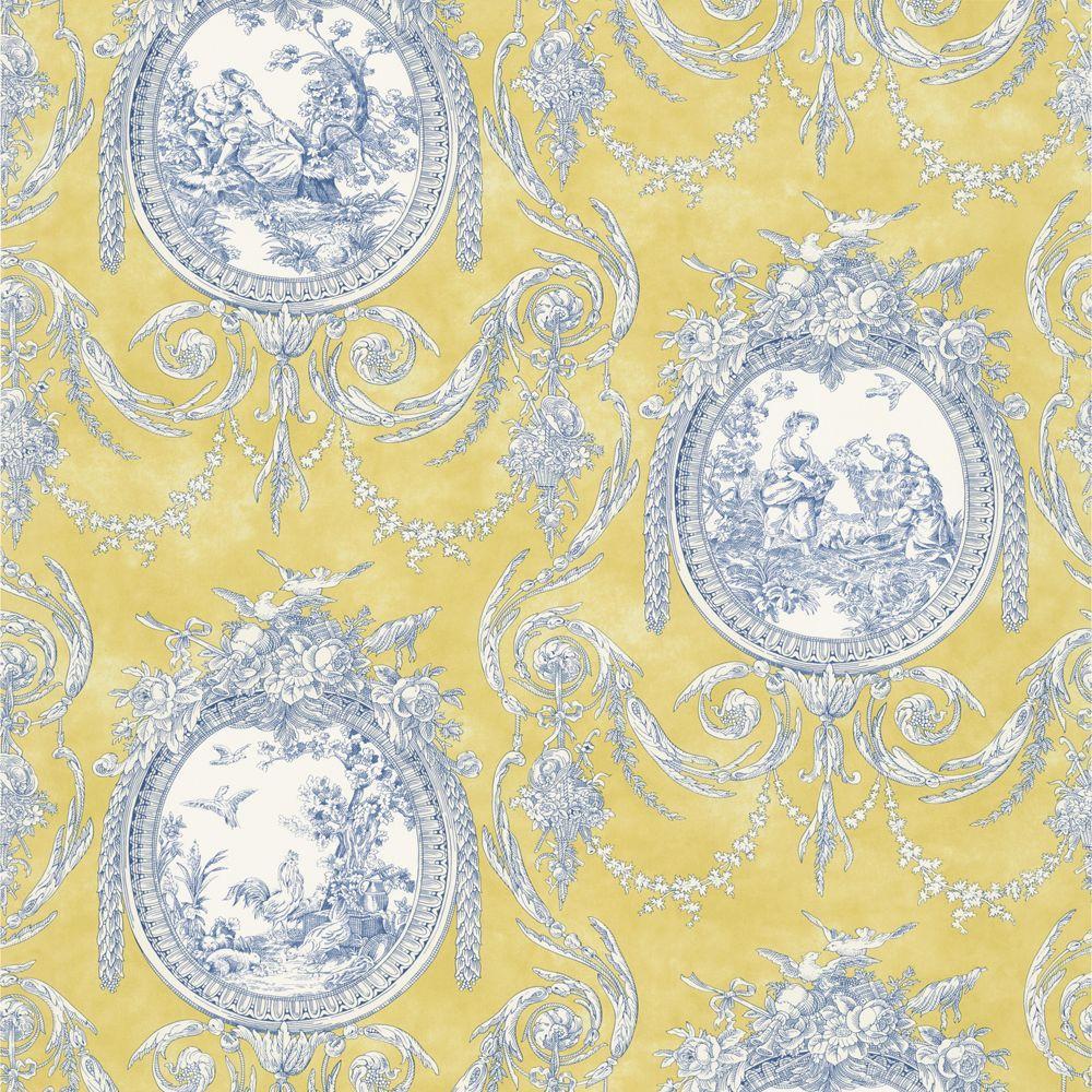 The Wallpaper Company 56 sq. ft. Yellow Vignette Toile Wallpaper