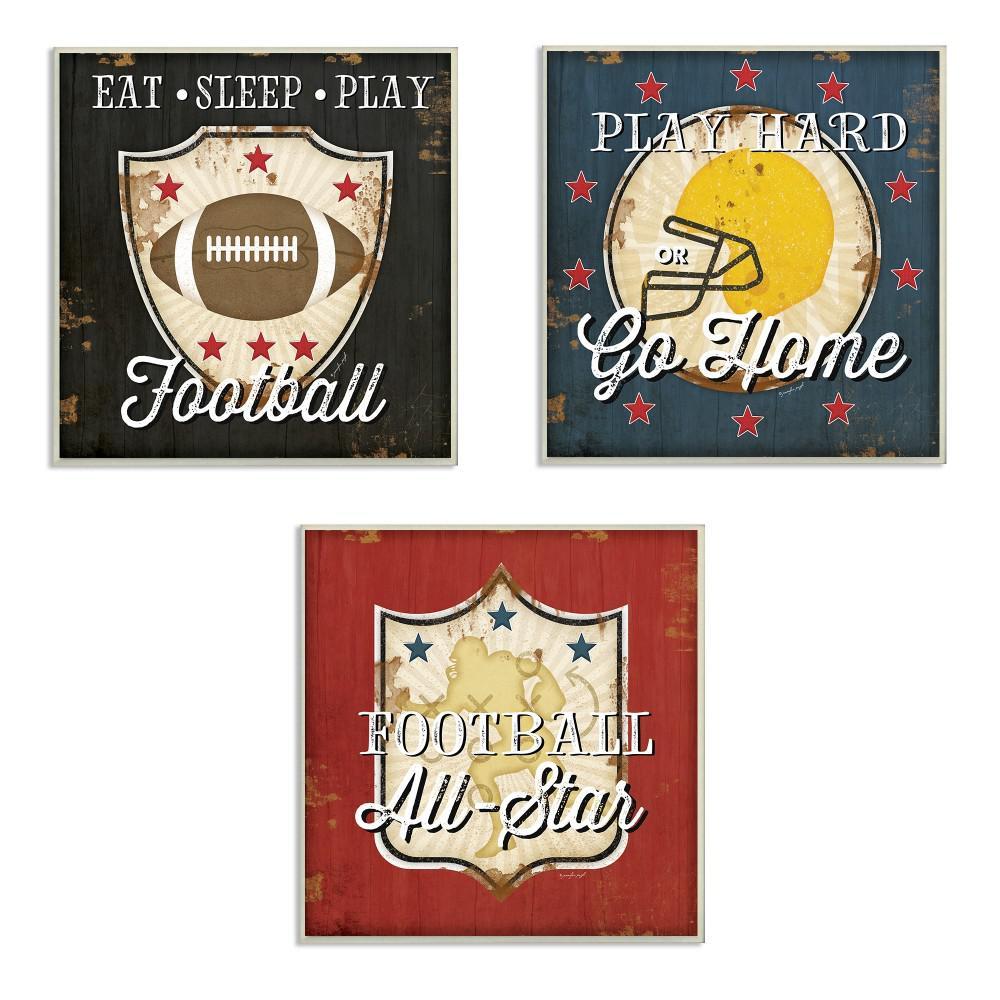 "12 in. x 12 in. ""Football All-Star"" by Jennifer Pugh Printed Wood Wall Art"