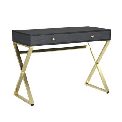 HomeRoots Amelia 31 in. Black And Brass Particle Board Desk
