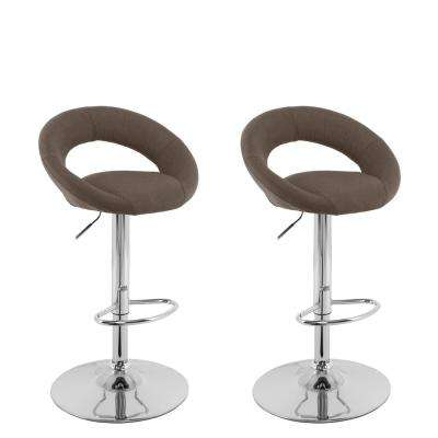 Adjule Height Light Brown Round Open Back Fabric Bar Stool Set Of 2