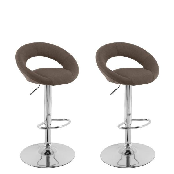 CorLiving Adjustable Height Light Brown Round Open Back Fabric Bar Stool