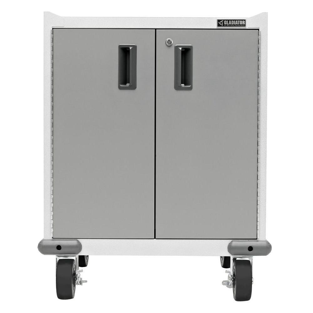 Premier Series Pre-Assembled 35 in. H x 28 in. W x 25 in. D Steel 2-Door Rolling Garage Cabinet in Hammered White