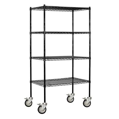 Black 4-Tier Rolling Welded Wire Shelving Unit (36 in. W x 80 in. H x 18 in. D)