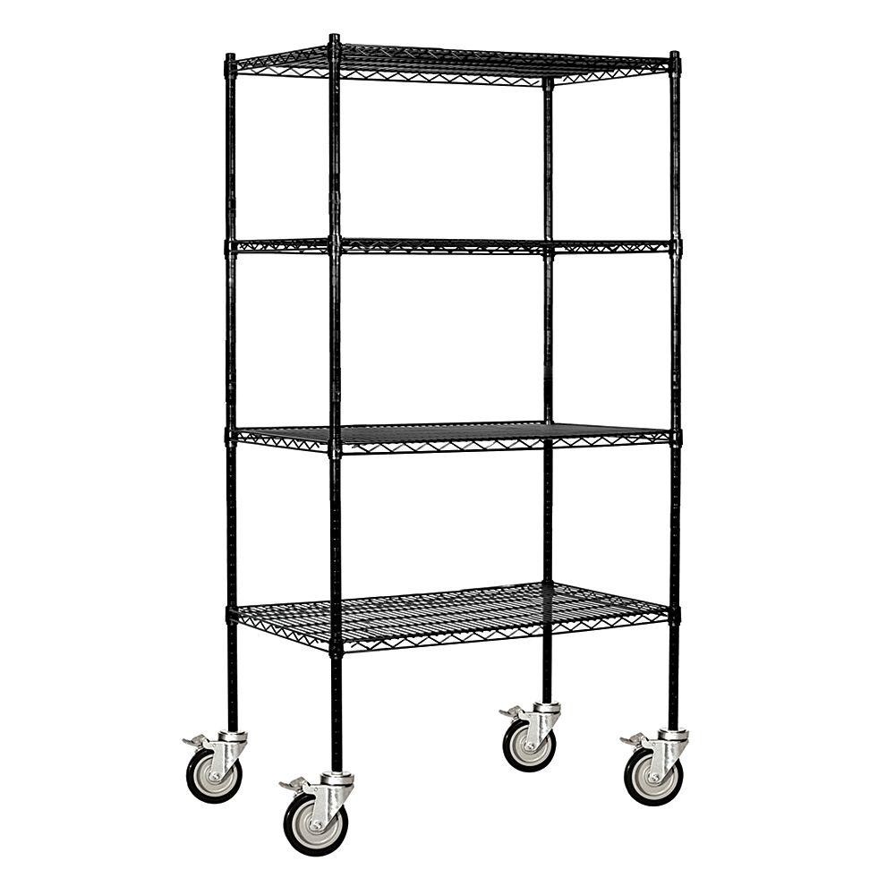 Salsbury Industries 9600M Series 36 in. W x 80 in. H x 18 in. D Industrial Grade Welded Wire Mobile Wire Shelving in Black