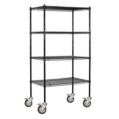 9600M Series 36 in. W x 80 in. H x 18 in. D Industrial Grade Welded Wire Mobile Wire Shelving in Black