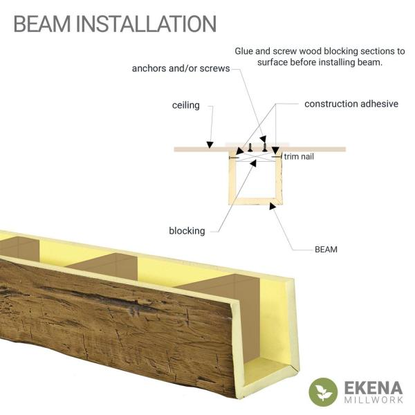 Ekena Millwork 6 In X 10 In X 14 Ft 2 Sided L Beam Rough Sawn White Washed Faux Wood Beam Bmrs2c0100x060x168wh The Home Depot
