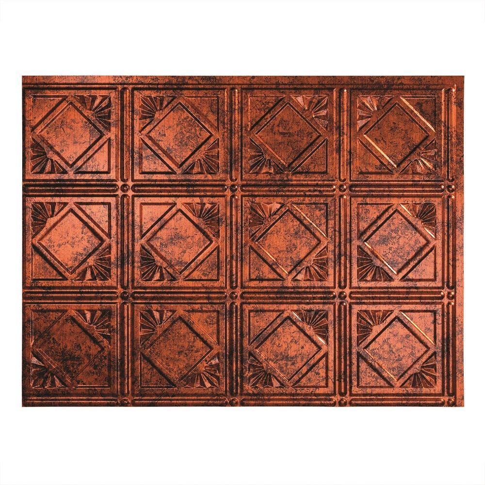 Fasade 24 in. x 18 in. Traditional 4 PVC Decorative Backsplash Panel in Moonstone Copper