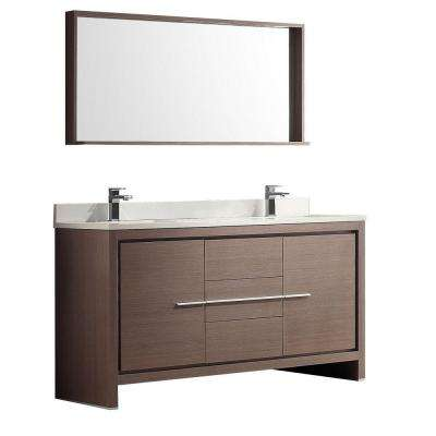 Allier 60 in. Double Vanity in Gray Oak with Glass Stone Vanity Top in White with White Basins and Mirror