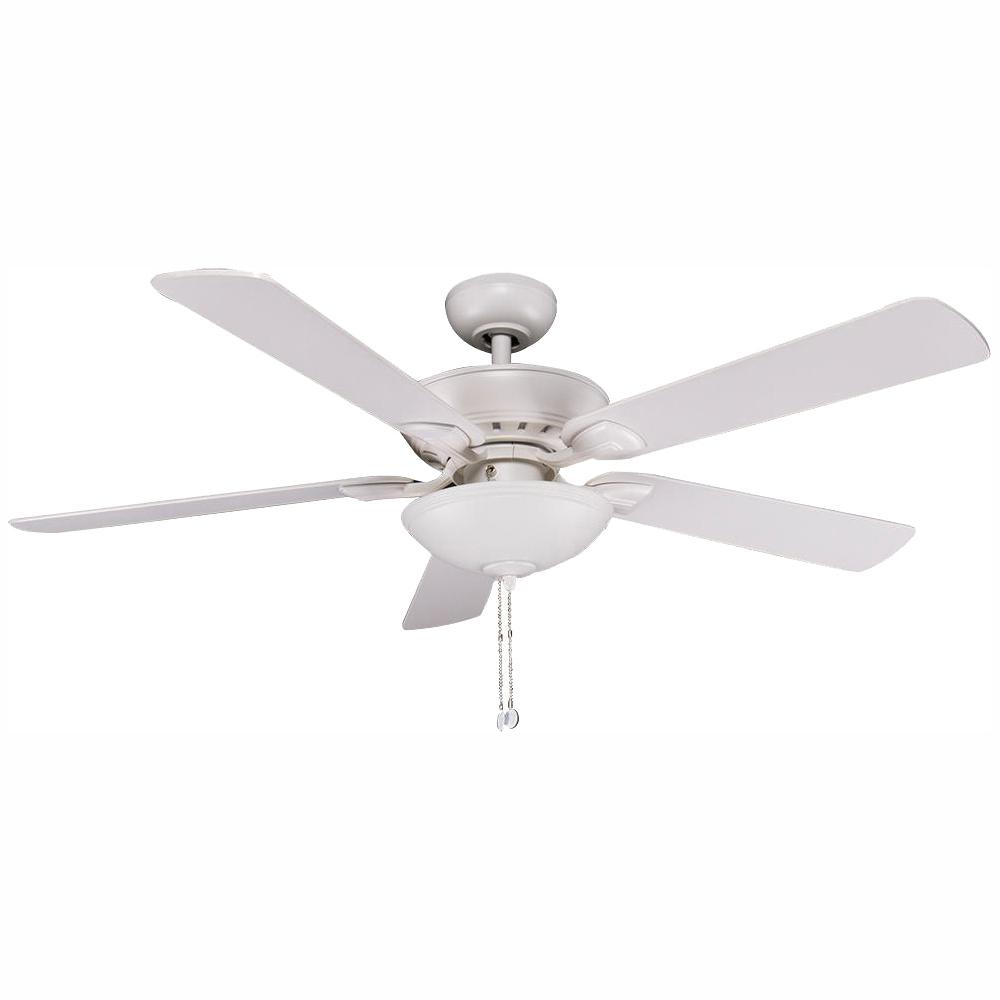 Hampton Bay Connor 52 in. Integrated LED Matte White Ceiling Fan with Light Kit