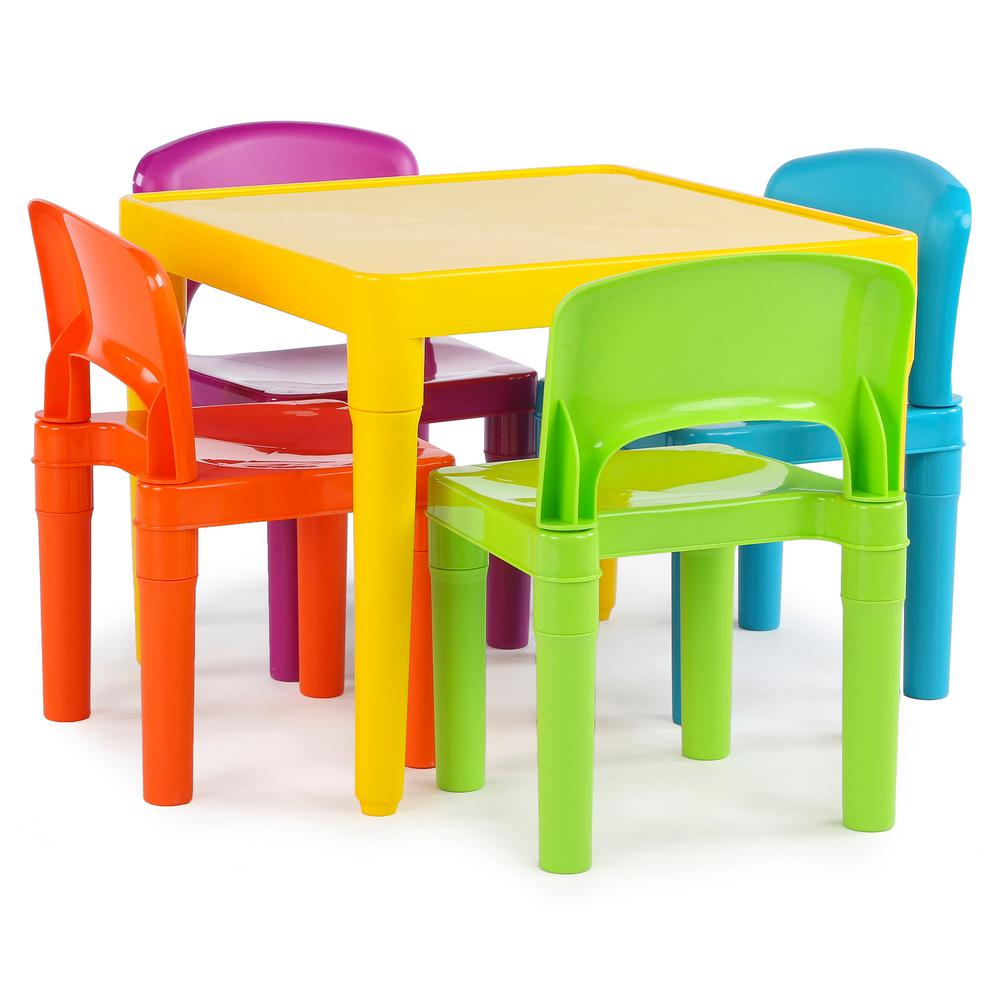 Playtime 5-Piece Vibrant Colors Kids Table and Chair Set