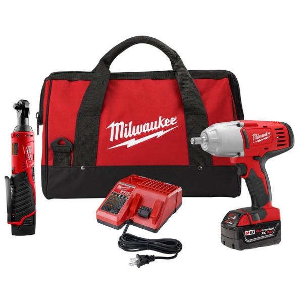 Milwaukee M18/M12 12/18-Volt Lithium-Ion Cordless 3/8 in. Ratchet and 1/2 in. Impact Wrench with Friction Ring Combo Kit