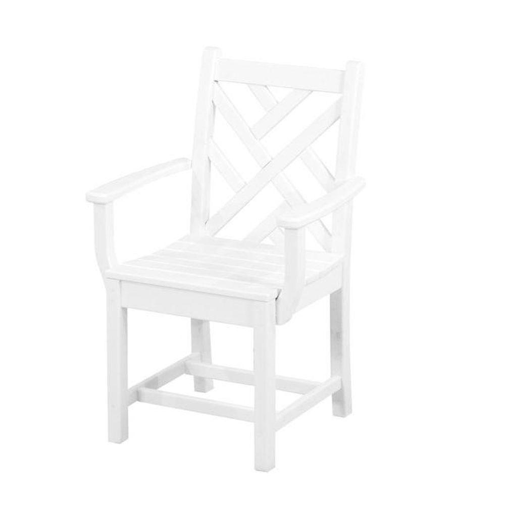 Polywood Chippendale White All Weather Plastic Outdoor Dining Arm Chair