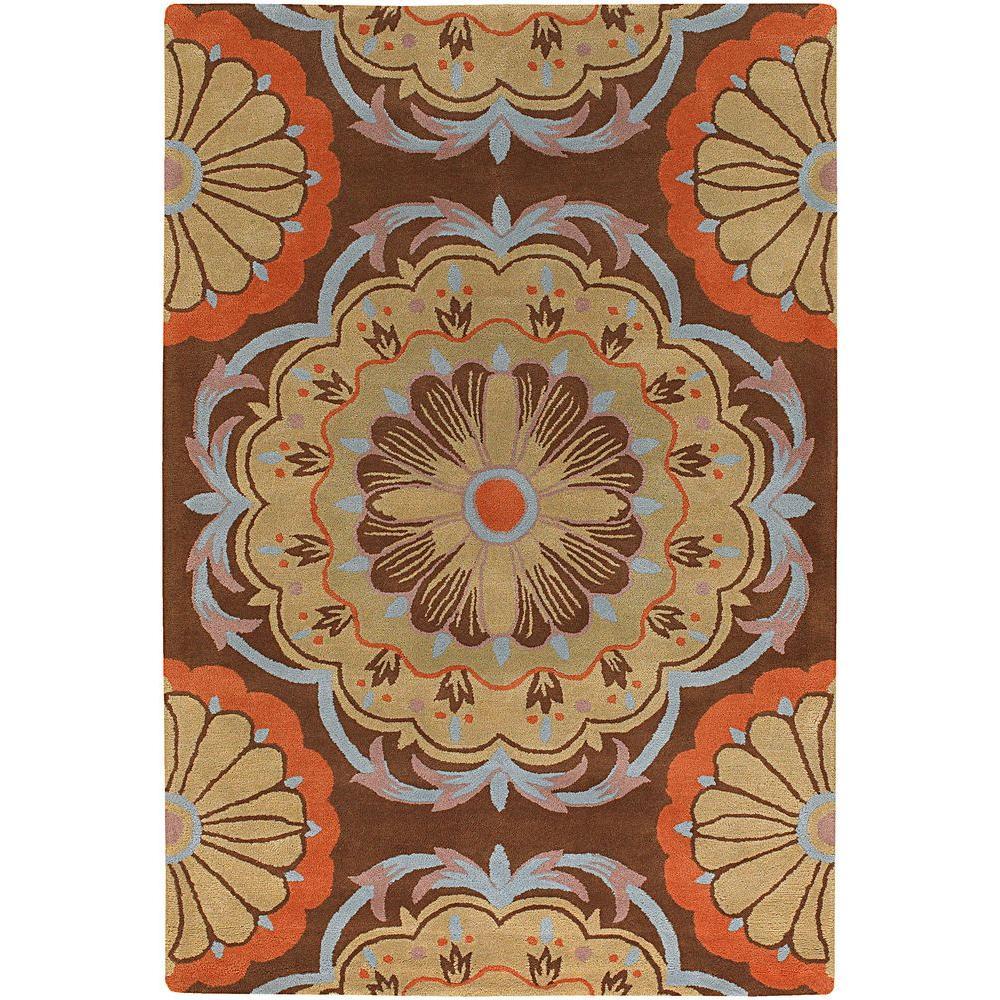 Chandra Dharma Brown/Blue/Orange/Tan 5 ft. x 7 ft. 6 in. Indoor Area Rug