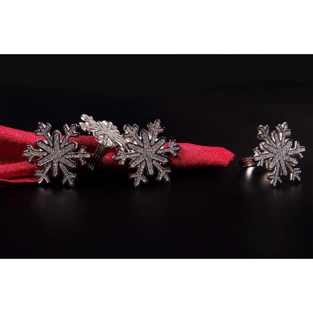 Shimmer Snowflake Silver Holiday Metal Napkin Rings (Set of 4)