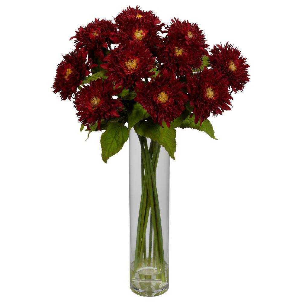 null 27 in. H Red Sunflower with Cylinder Silk Flower Arrangement