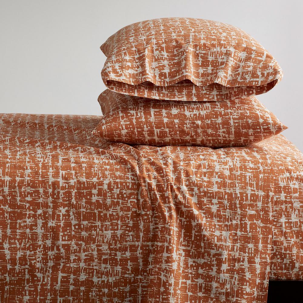 Brexton 4-Piece 200 Thread Count Cotton Percale Queen Sheet Set in Terracotta