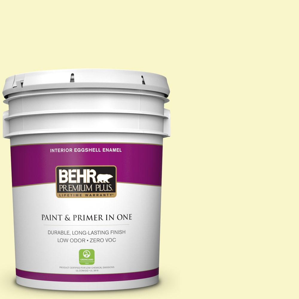 BEHR Premium Plus 5 gal. #PPL-20 Dancing Butterfly Eggshell Enamel Zero VOC Interior Paint and Primer in One