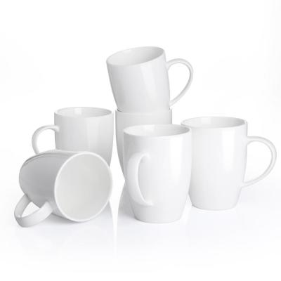 12.5 oz. Porcelain White Coffee Mugs Cappuccino Cups(Set of 6)