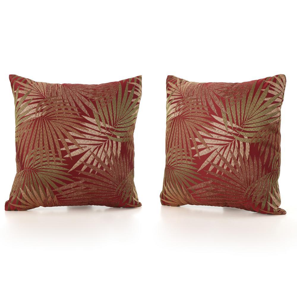 Coronado Tropical Red Square Outdoor Throw Pillow (2-Pack)