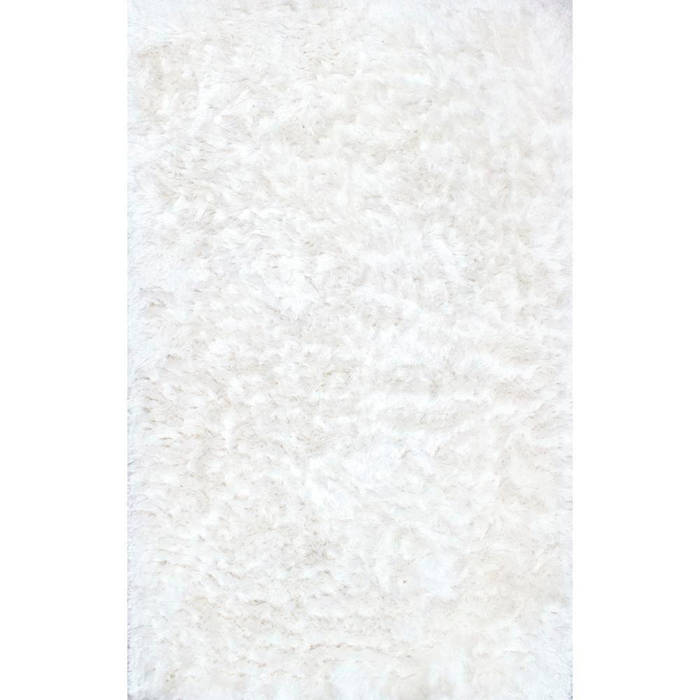 Latonia Silken Shag Pearl White 8 ft. x 10 ft. Area Rug