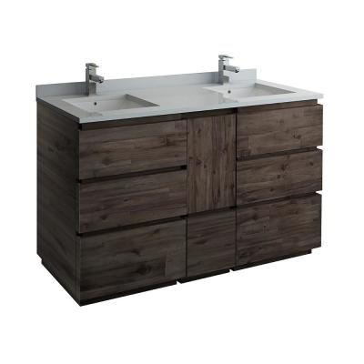 Formosa 58 in. W Modern Double Vanity Cabinet Only in Warm Gray