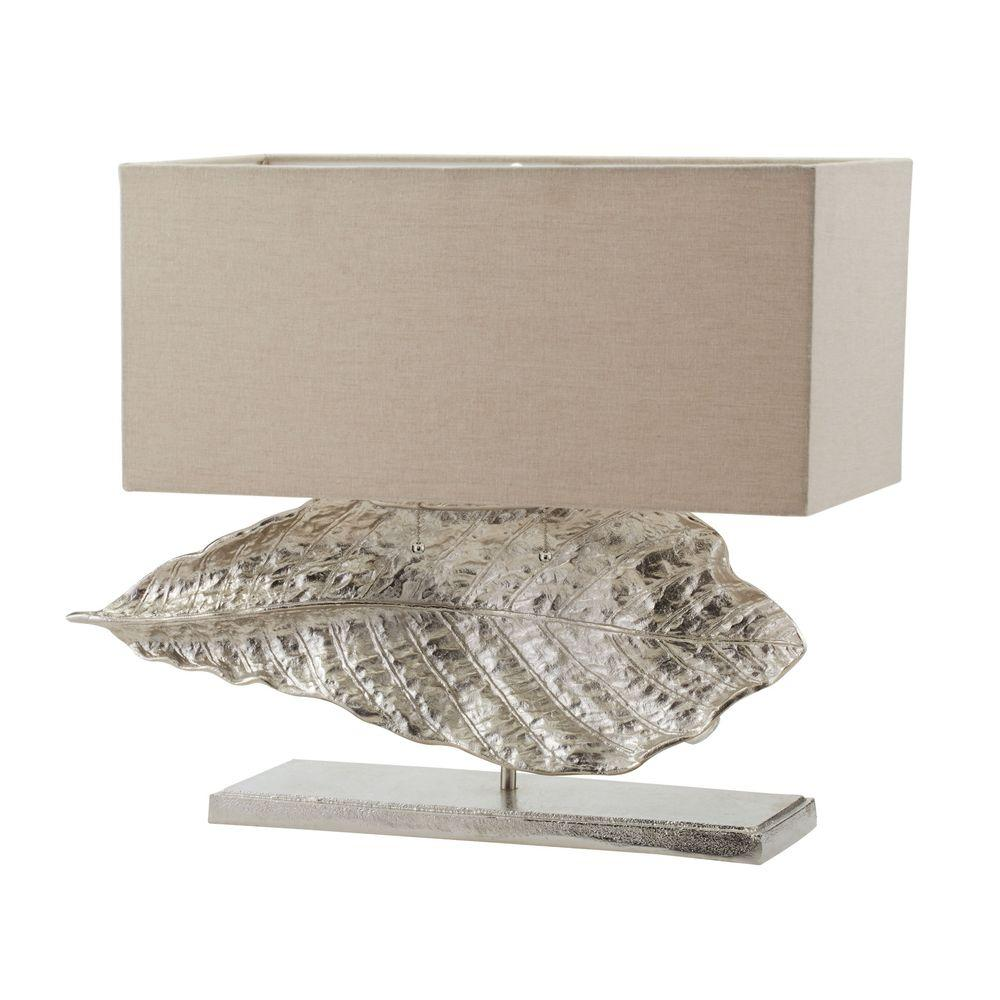 Titan lighting leaf 21 in nickel wide table lamp with natural nickel wide table lamp with natural linen shade tn 999749 the home depot geotapseo Gallery