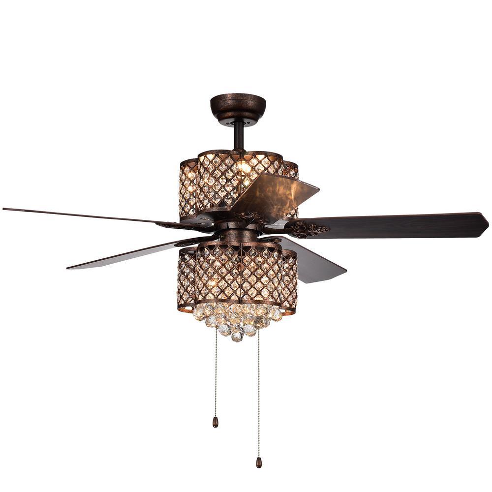 Quincy 52 in. Indoor Rustic Bronze Ceiling Fan with Light Kit
