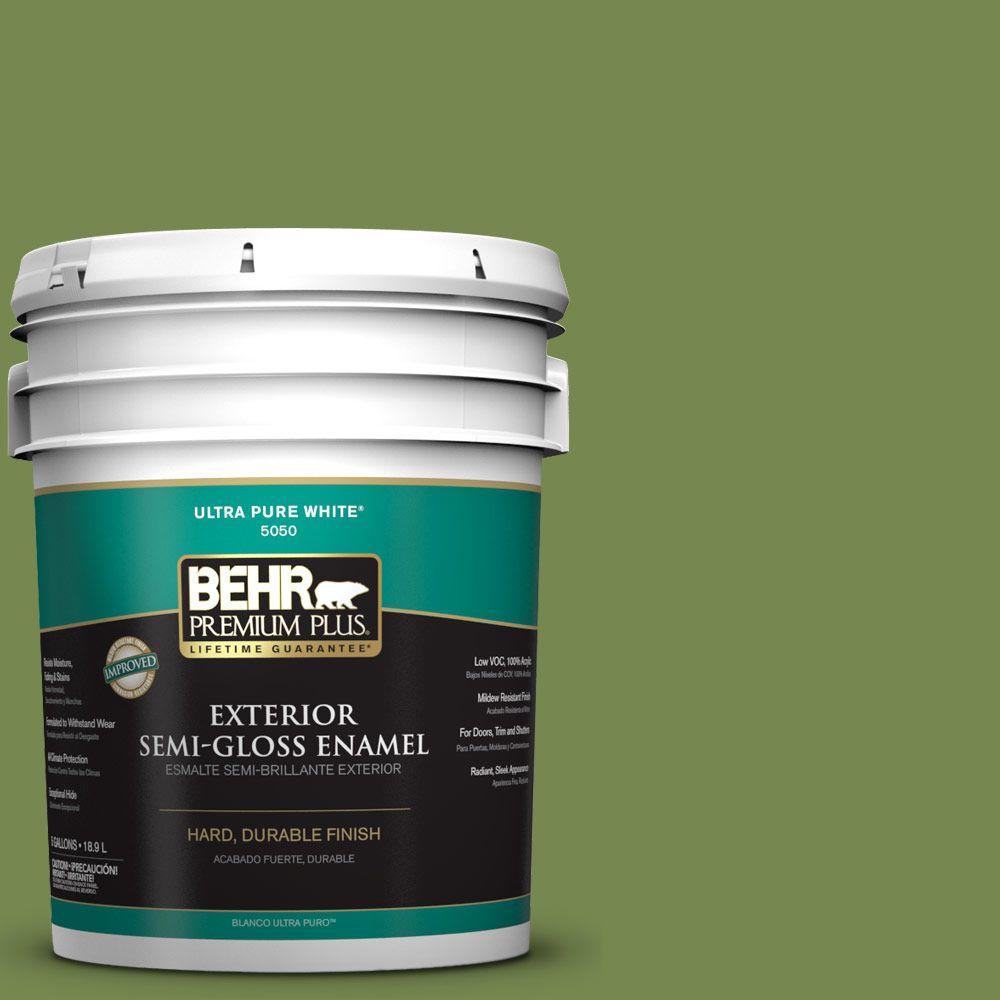 5-gal. #HDC-SM14-2 Green Suede Semi-Gloss Enamel Exterior Paint