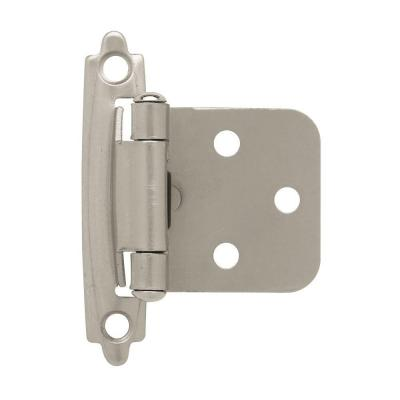 Satin Nickel Self-Closing Overlay Cabinet Hinge (5-Pairs)