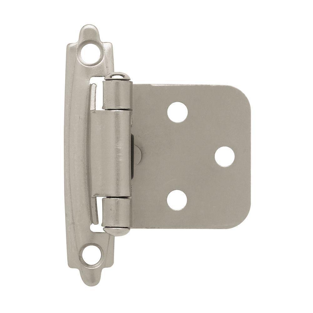 Satin Nickel Self-Closing Overlay Cabinet Hinge (5-Pairs)