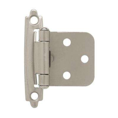 Satin Nickel Self Closing Overlay Cabinet Hinge 5 Pairs