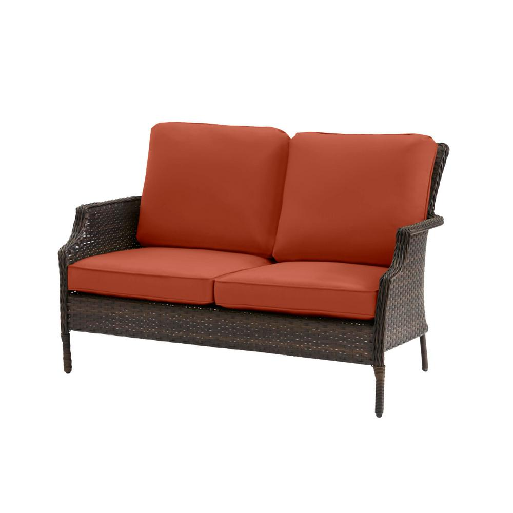 Hampton Bay Grayson Brown Wicker Outdoor Patio Loveseat with CushionGuard Quarry Red Cushions was $249.0 now $199.2 (20.0% off)