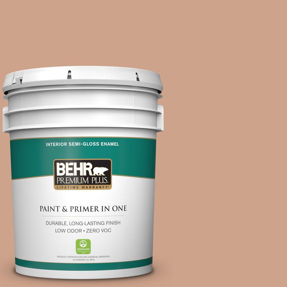 BEHR Premium Plus 5-gal. #PMD-76 Sienna Buff Zero VOC Semi-Gloss Enamel Interior Paint