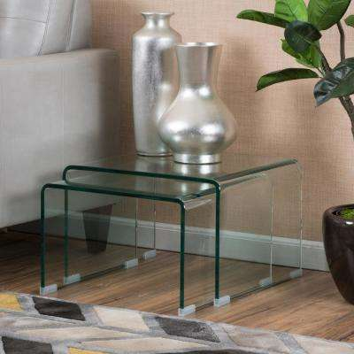 Clear Glass Modern Rounded Rectangular Accent Tables (Set of 2)