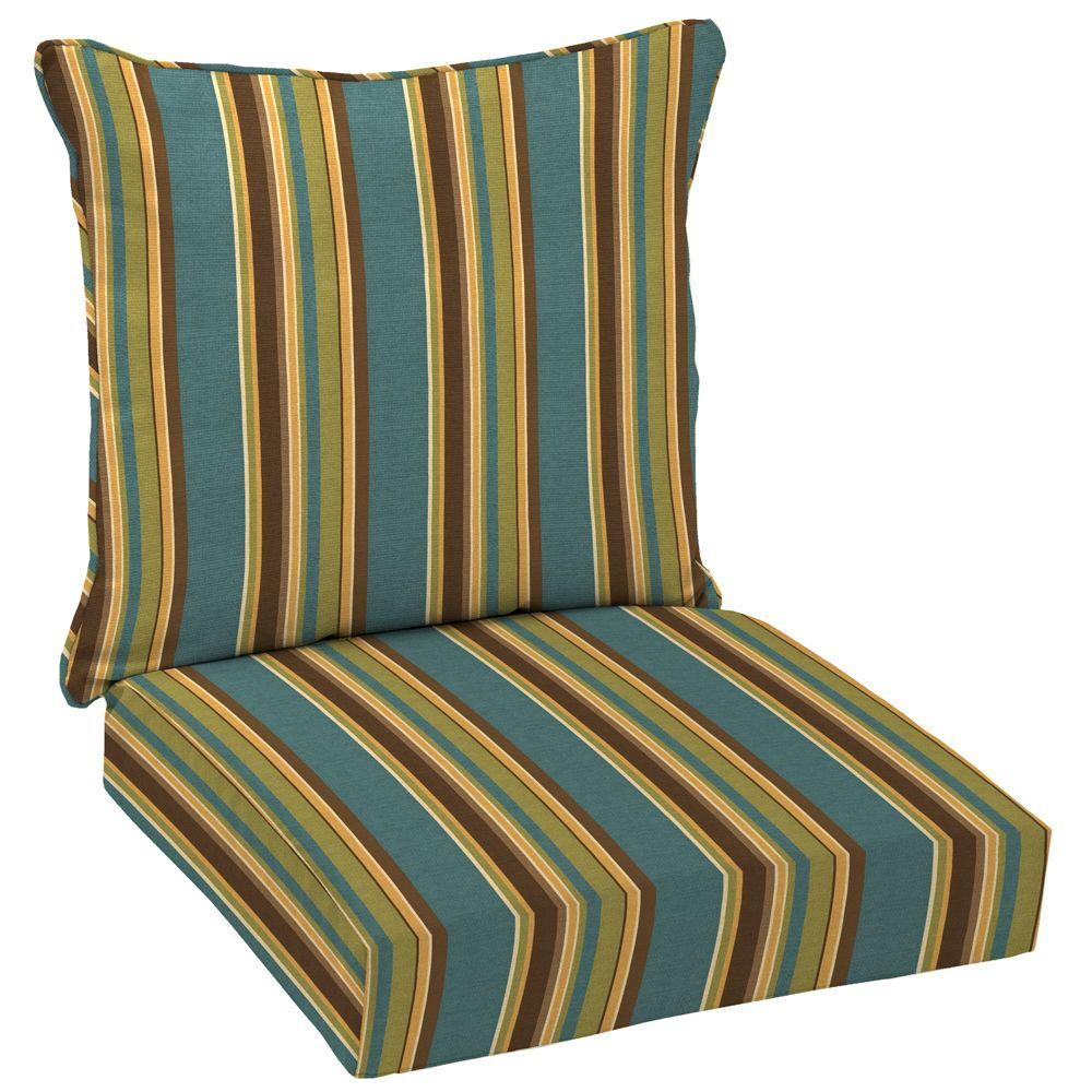Arden Lakeside Stripe Welted 2-Piece Pillow Back Outdoor Deep Seating Cushion Set