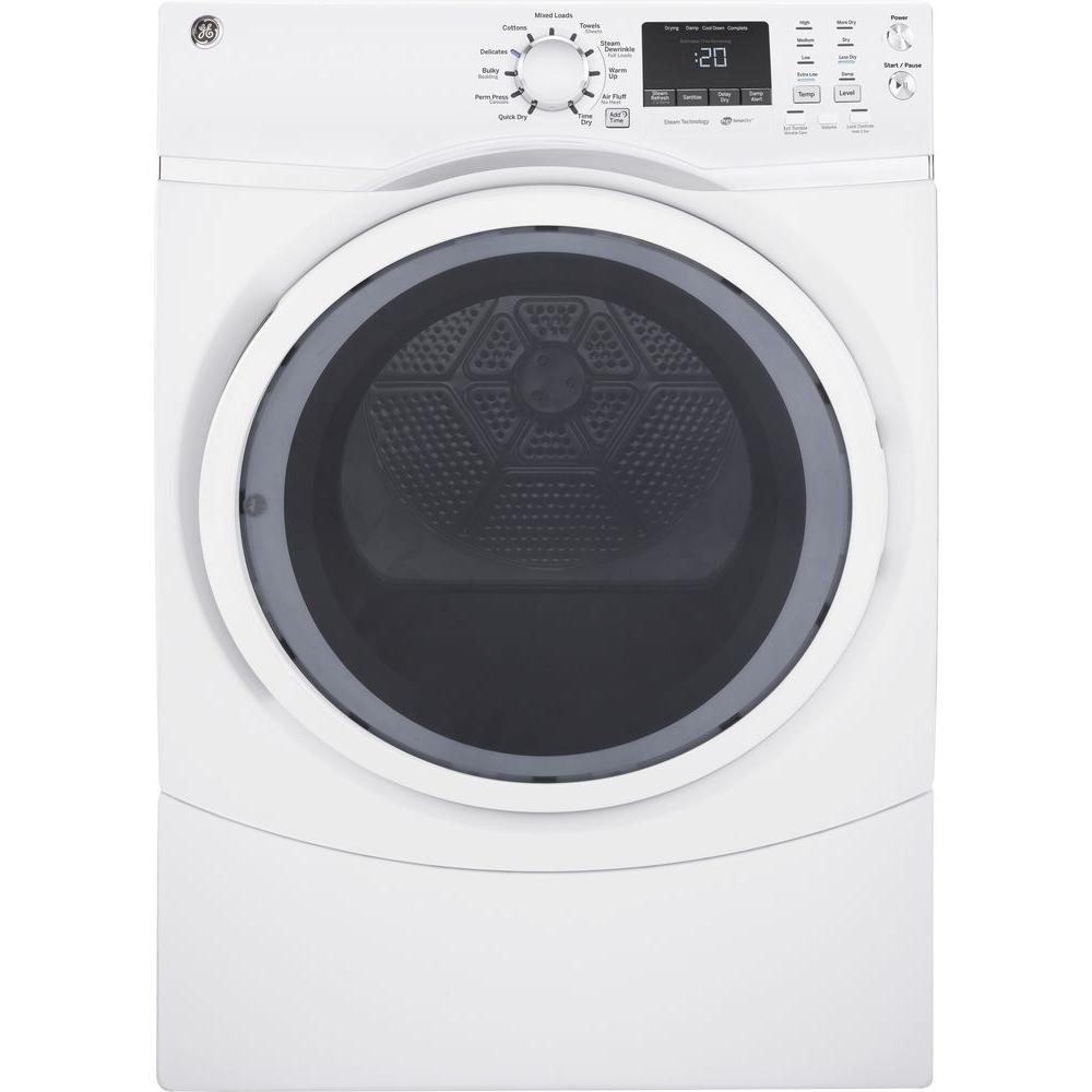 GE 7.5 cu. ft. 120 Volt White Stackable Gas Vented Dryer ...