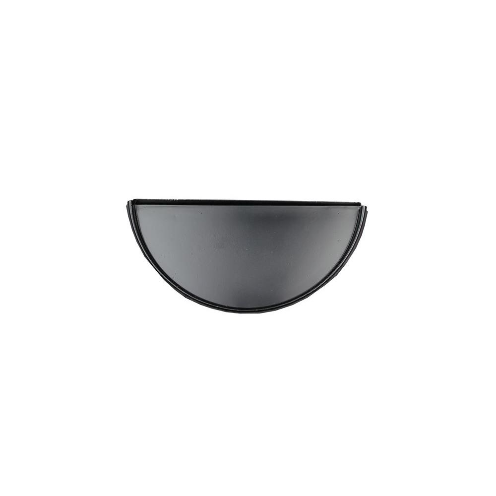 6 in. Half Round Black Aluminum Gutter End Cap