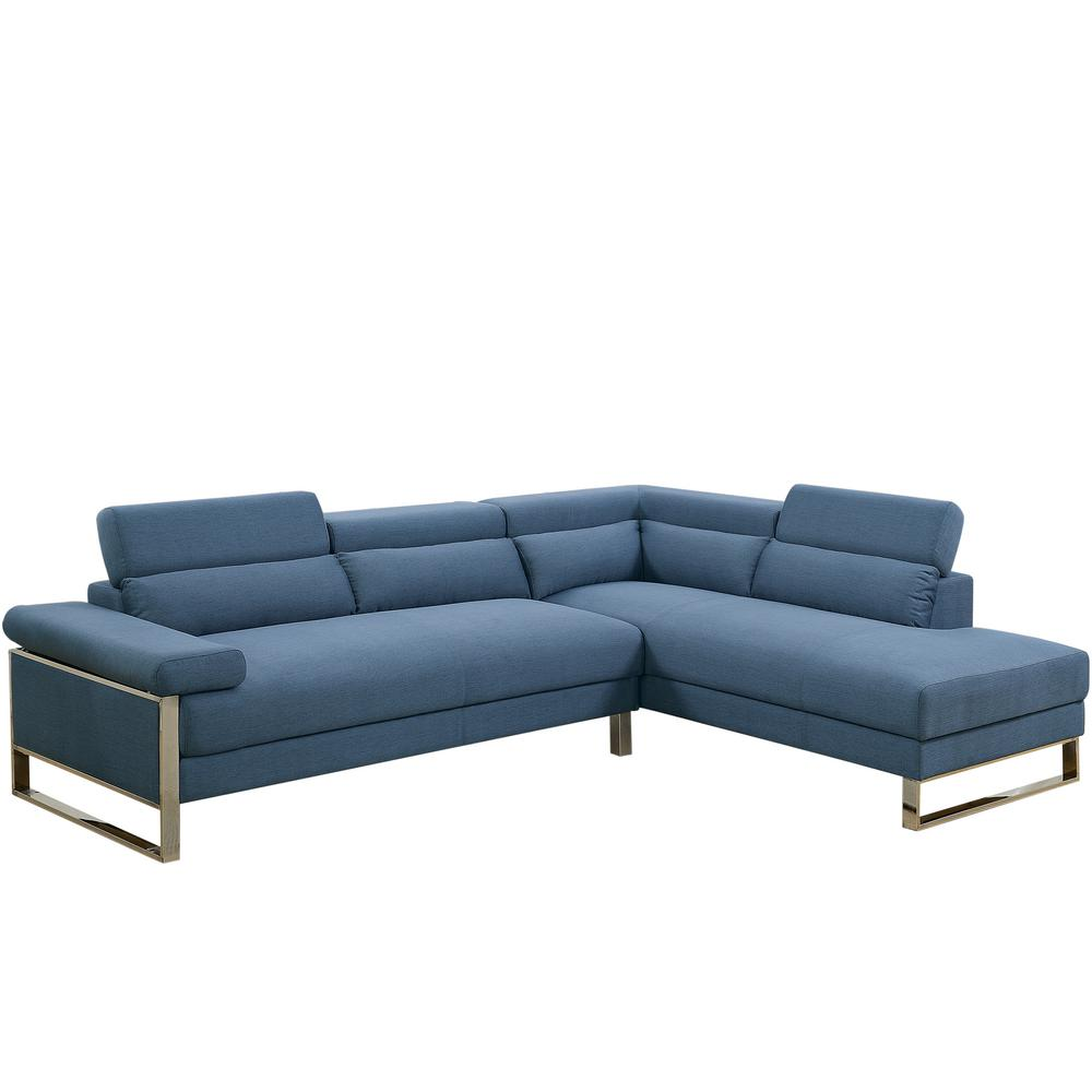 Venetian Worldwide 2 Piece Blue Glossy Polyfiber Linen Like Fabric Sectional Sofa