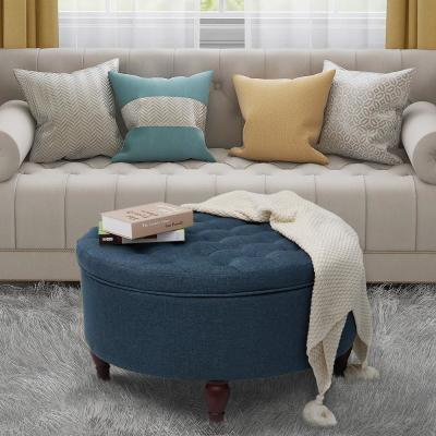 32 in. W x 32 in. D x 18 in. H Blue Fabric Tufted Round Storage Trunk Cocktail Ottoman