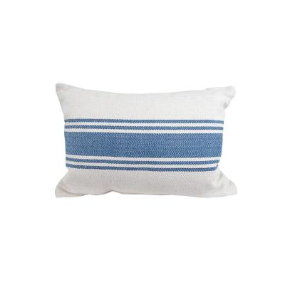 Blue Striped Polyester 14 in. x 20 in. Throw Pillow