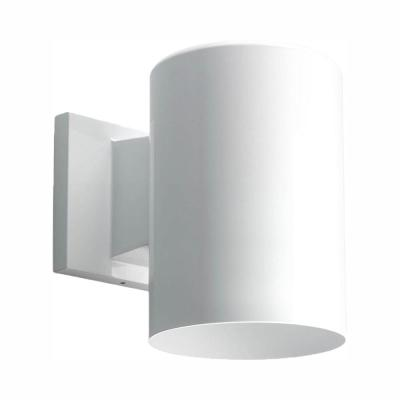 1-Light White Integrated LED 7.5 in. Outdoor Wall Mount Cylinder Light