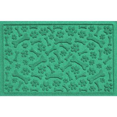 Aqua Shield Paws and Bones Aquamarine 17.5 in. x 26.5 in. Pet Mat