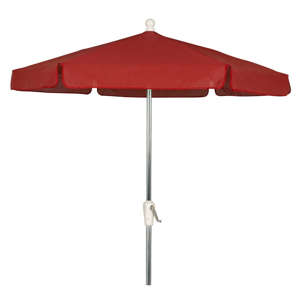 7.5 ft. Aluminum Patio Umbrella with Red Vinyl Coated Weave