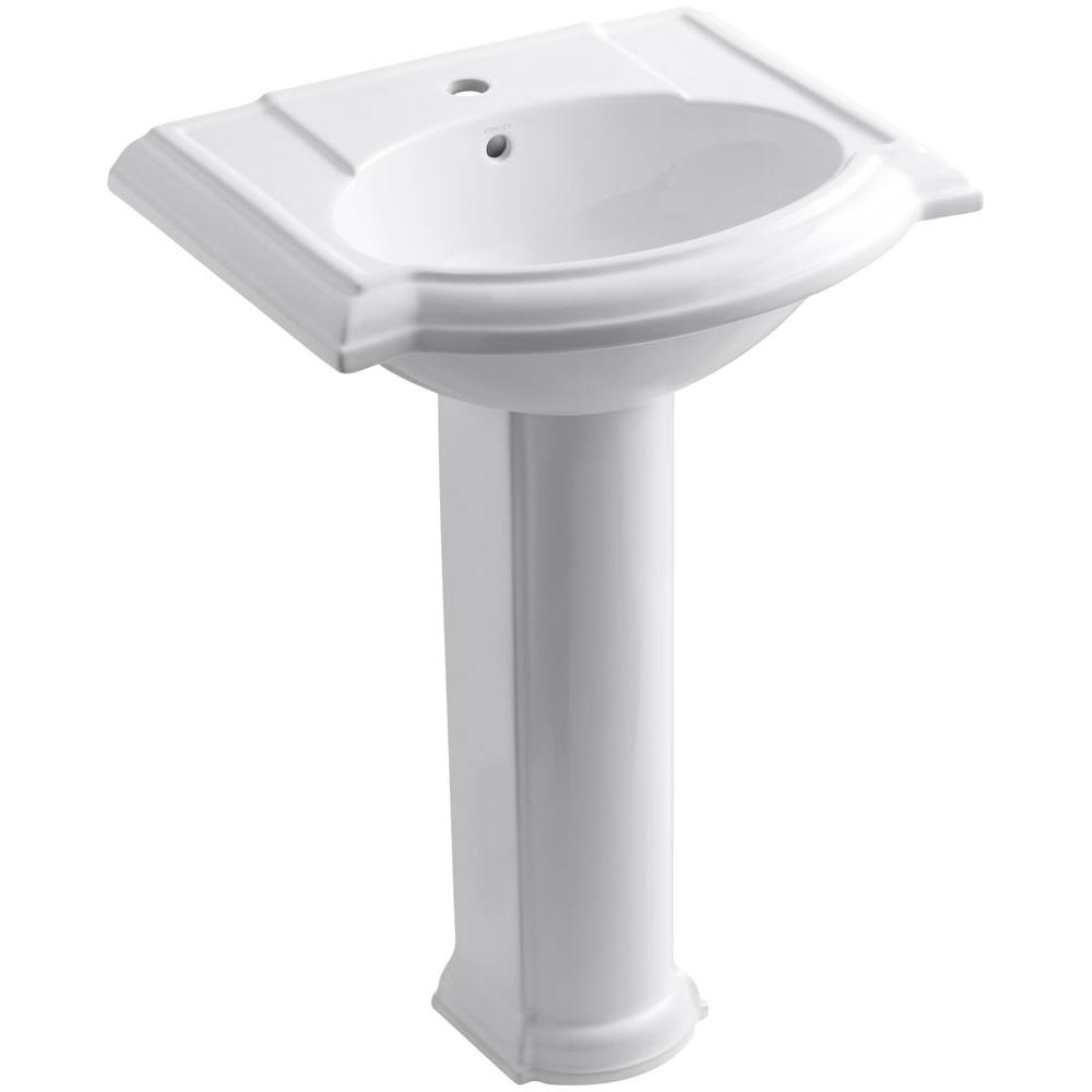 Devonshire Vitreous China Pedestal Bathroom Sink Combo in White with Overflow