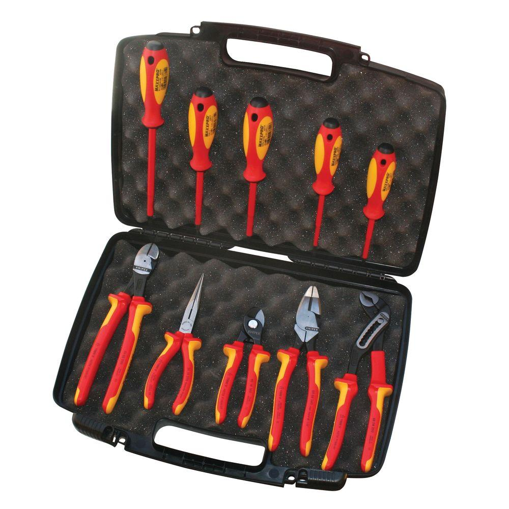 KNIPEX 1,000V High Leverage Industrial Insulated Plier Set & Case (10-Piece)
