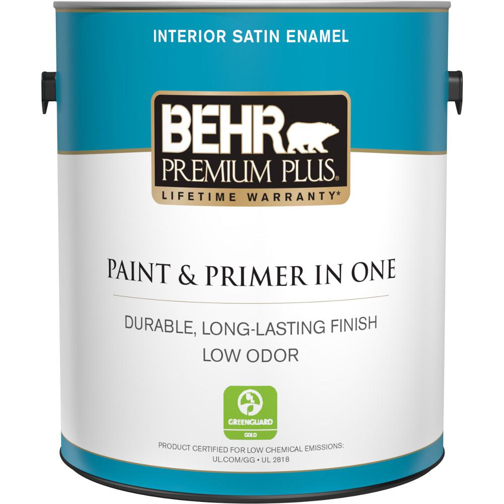 Behr Premium Plus 1 Gal Ultra Pure White Satin Enamel Low Odor Interior Paint And